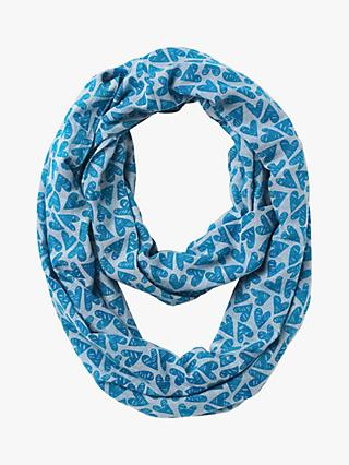White Stuff Cotton Heart Snood, Blue