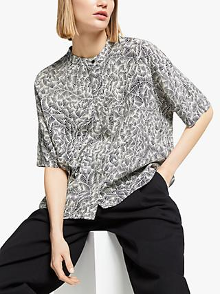 Kin Somai Print Oversized Shirt, Black