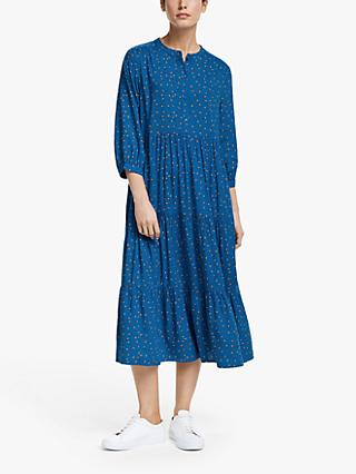 Collection WEEKEND by John Lewis Emilia Floral 3/4 Sleeve Shift Dress, Blue/Multi