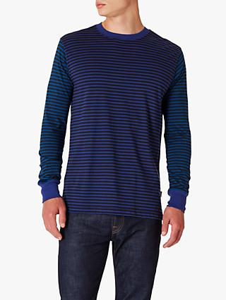PS Paul Smith Stripe Organic Cotton Long Sleeve T-Shirt, Blue