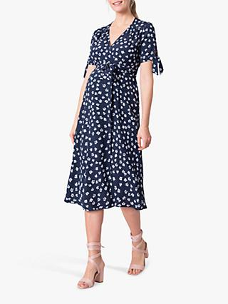 Seraphine Floral Wrap Midi Dress, Navy