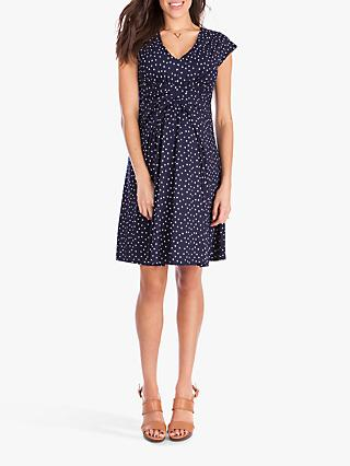 Séraphine Pleat Detail Spot Print Maternity and Nursing Dress, Navy