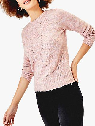 Oasis Mia Cable Knit Jumper, Pink/Multi