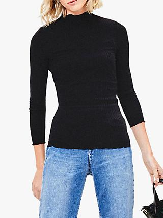 Oasis Ribbed Lettuce Edge Long Sleeve Top, Black