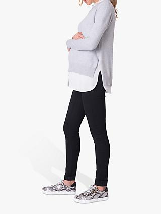 Séraphine Broderie Layered Maternity and Nursing Jumper, Grey Marl