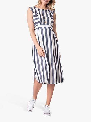 Seraphine Stripe Maternity and Nursery Midi Dress, Blue/White