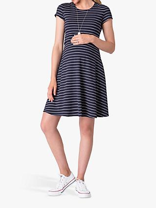 Séraphine Fit and Flare Stripe Jersey Dress