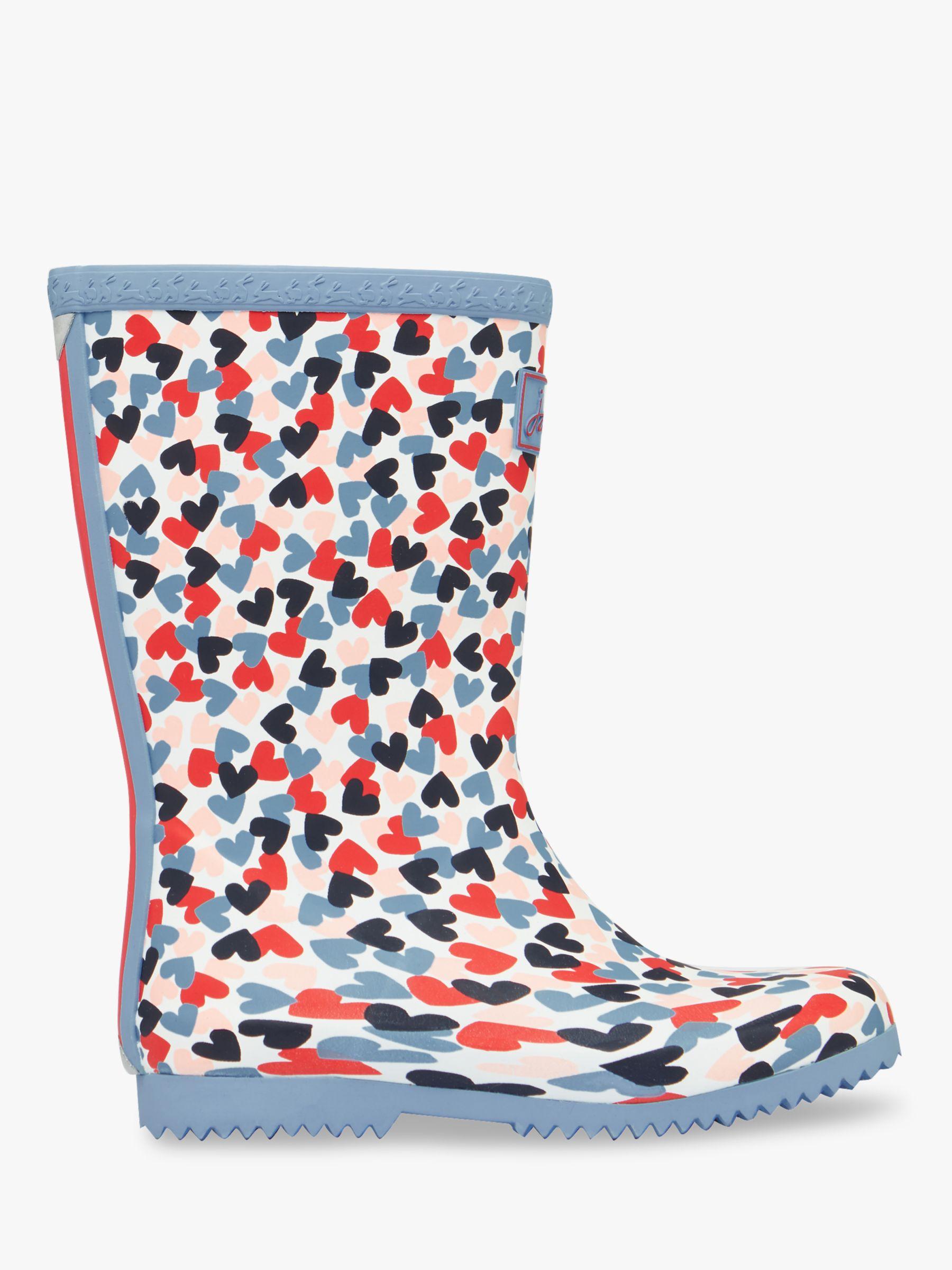 Joules Little Joule Children's Roll Up Heart Wellington Boots, Blue/Multi