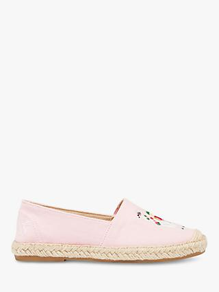 Little Joule Children's Shelbury Embroidered Llama Espadrilles, Pink