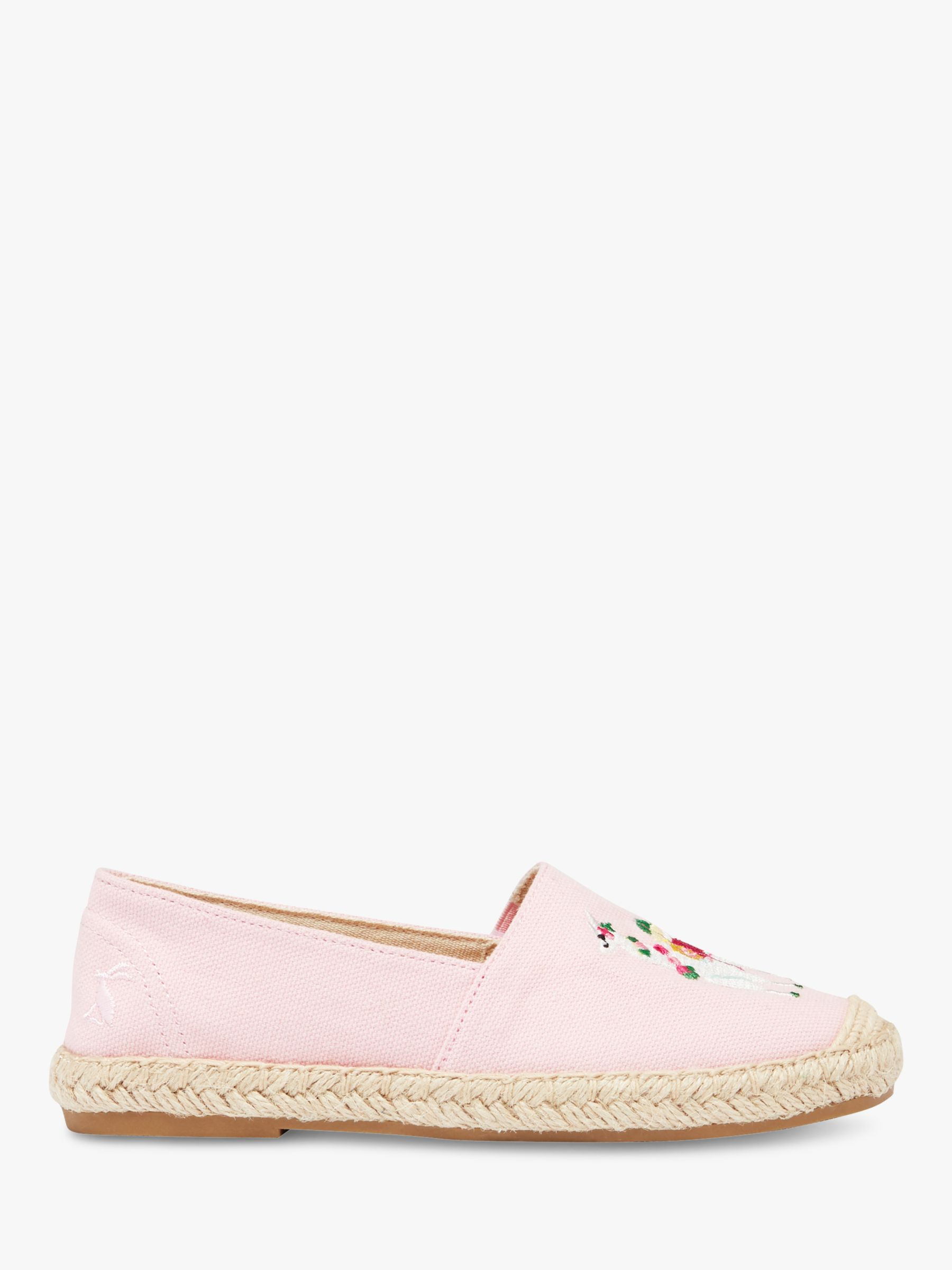 Joules Little Joule Children's Shelbury Embroidered Llama Espadrilles, Pink