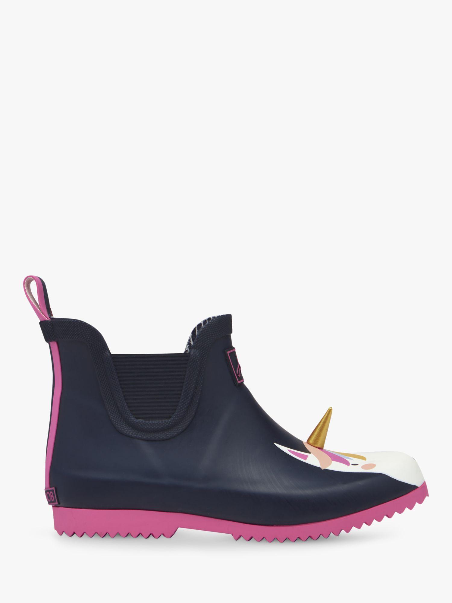 Joules Little Joule Children's Wellibob Unicorn Short Wellington Boots, Navy