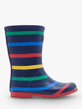 Little Joule Junior Stripe Wellington Boots, Navy