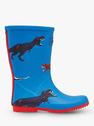 Little Joule Children's Wellington Boots, Blue Dinos