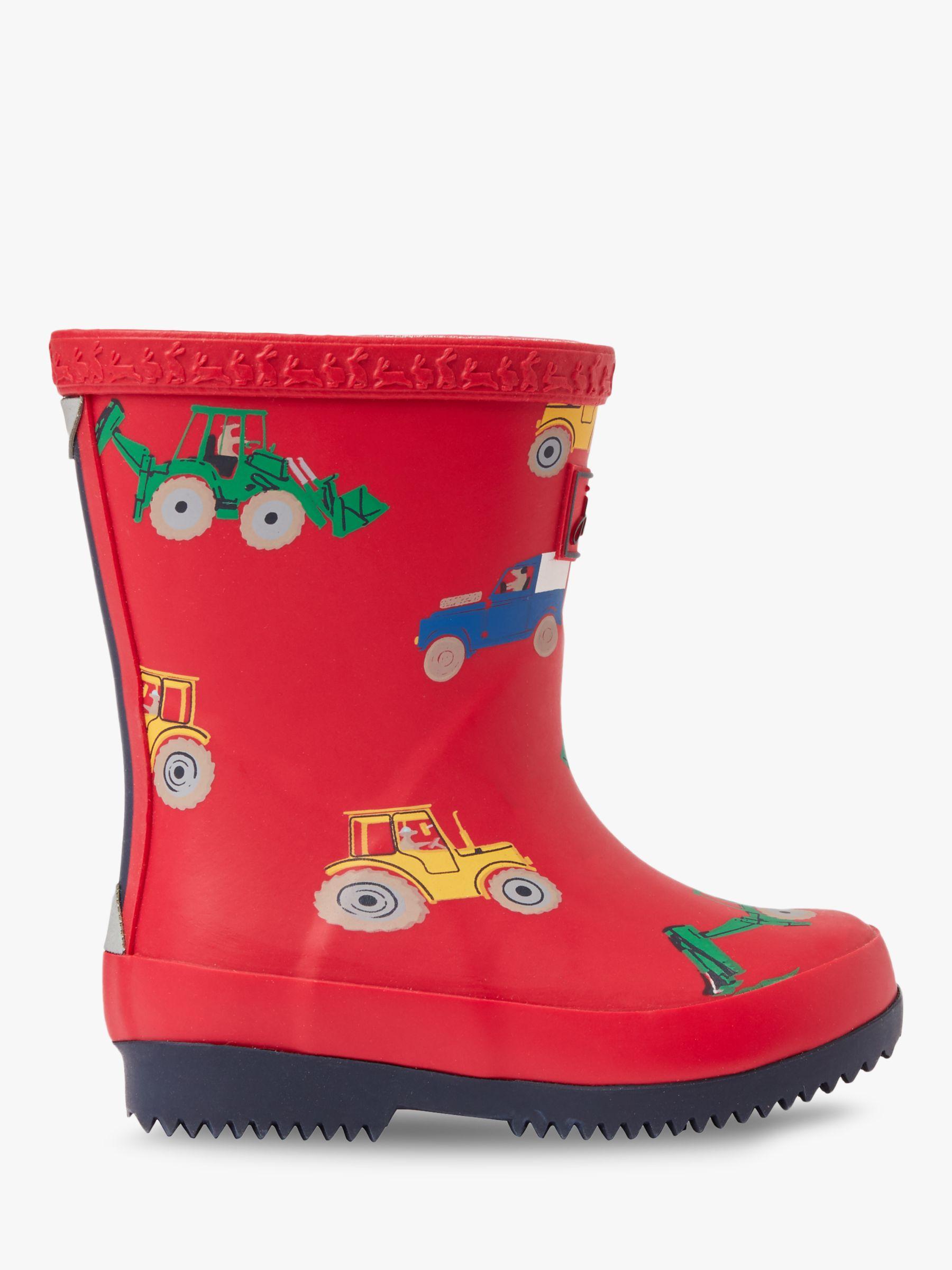 Joules Little Joule Junior Wellington Boots, Red Vehicles