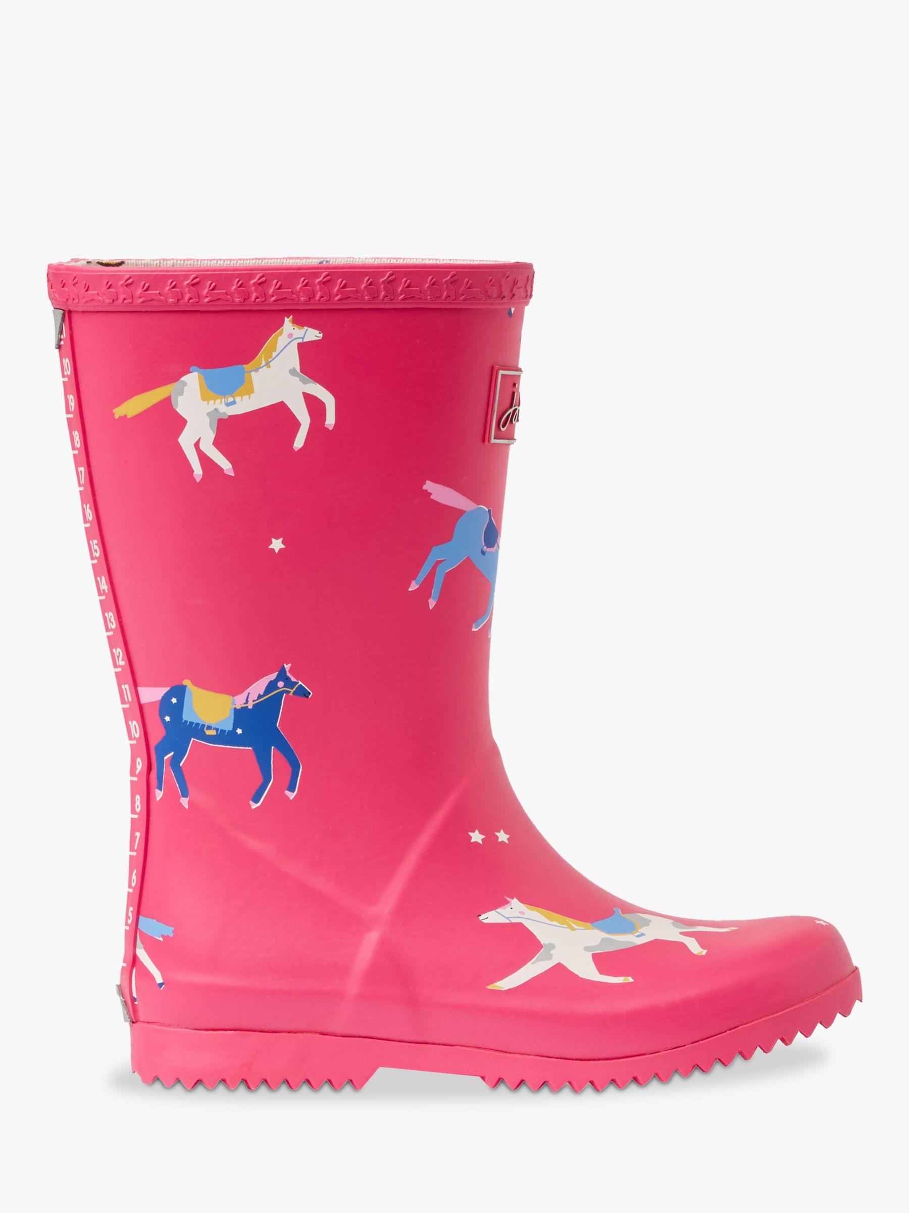 Joules Little Joule Children's Wellington Boots, Pink Horses