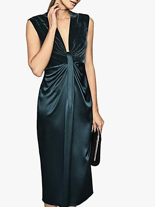 Reiss Livvy Velvet Satin Plunge Midi Dress