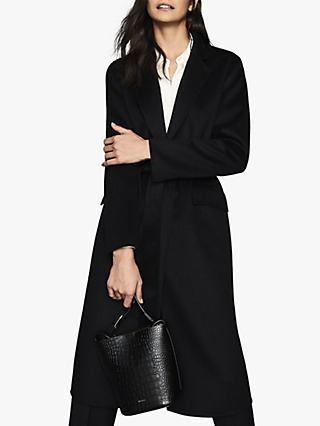 Reiss Ellie Wool Blend Longline Coat, Black