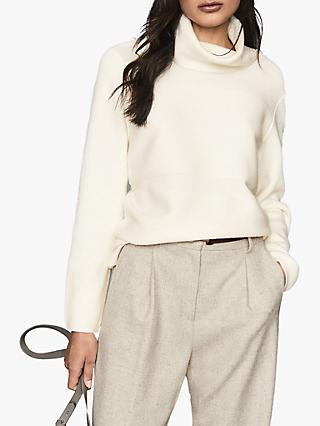 Reiss Shea Roll Neck Jumper, Cream