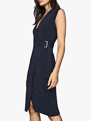 Reiss Gabrielle Knitted Wrap Front Dress, Navy