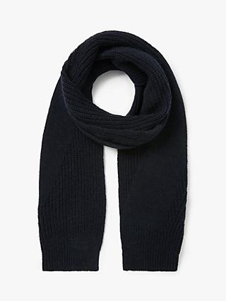 It's All Good Folk Recycled Wool Blend Stitch Detail Knit Scarf, Navy