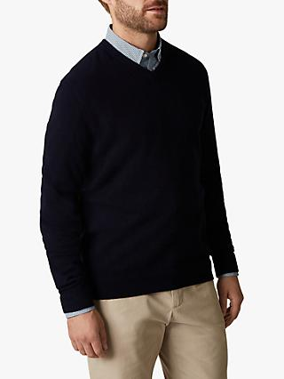 Jaeger Exposed Racking Detail Cashmere V-Neck Jumper, Navy