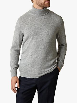 Jaeger Exposed Racking Detail Cashmere Roll Neck Jumper, Grey