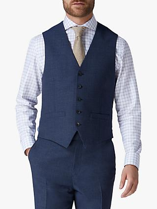 Jaeger Mini Grid Wool Regular Fit Waistcoat, Blue