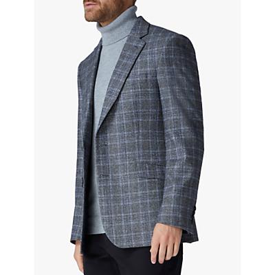 Image of Jaeger Wool Silk Highlight Check Regular Fit Blazer, Grey