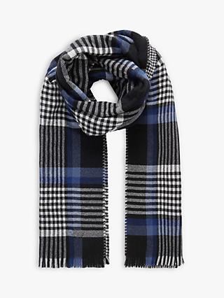 Brora Wool Plaid Scarf, Black/Cobalt