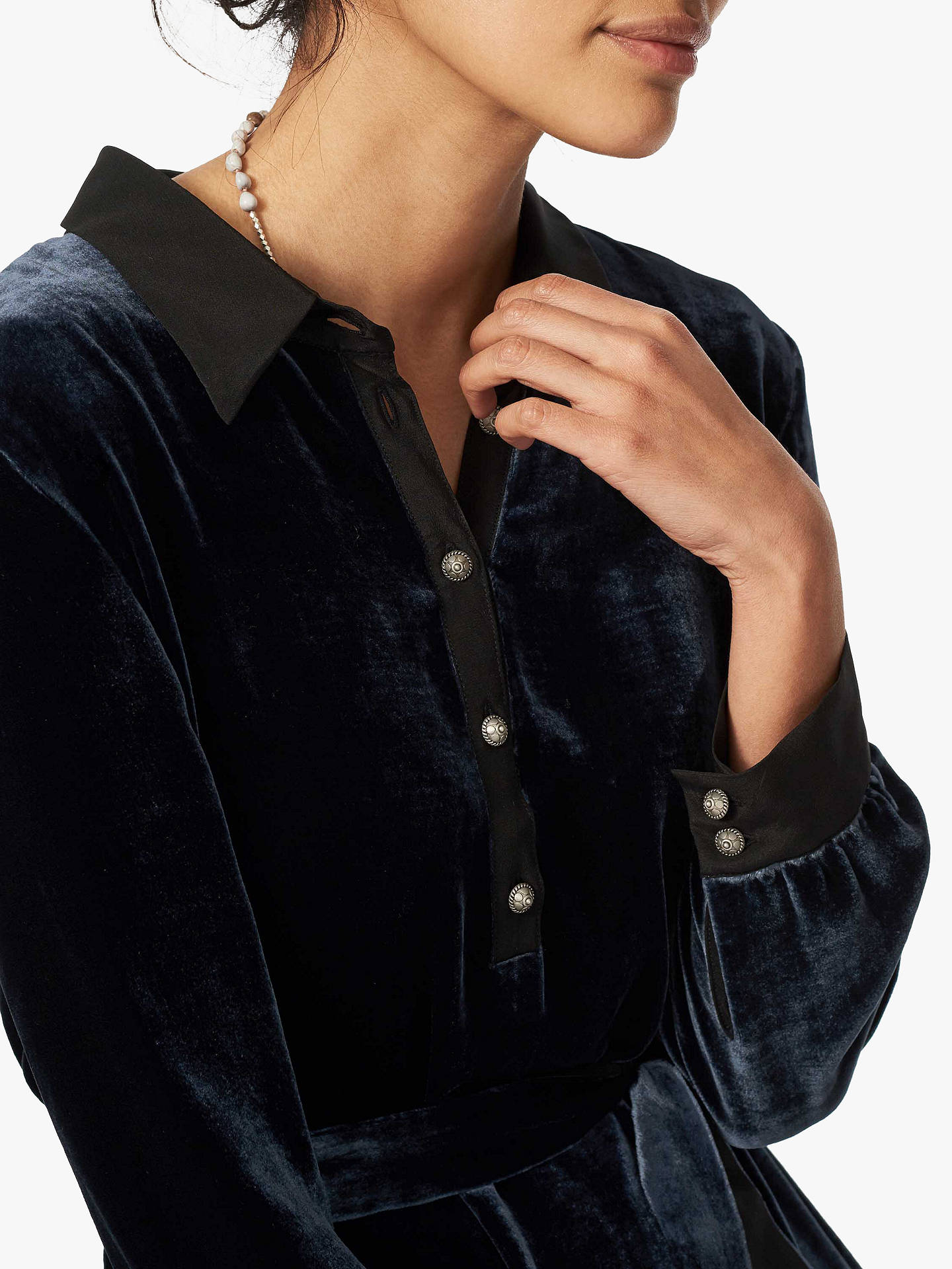 Brora Velvet Shirt Dress | Ink at John Lewis & Partners
