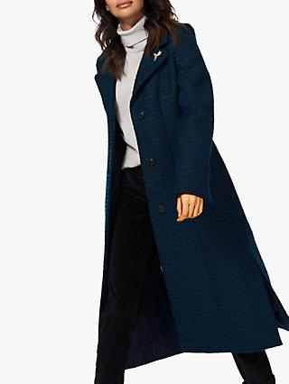 Brora Boucle Wool Blend Coat, Navy/Ivy