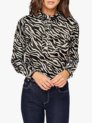 Damsel in a Dress Aimee Zebra Print Blouse, Neutral/Black