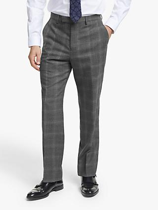 John Lewis & Partners Twisted Check Wool Regular Fit Suit Trousers, Grey