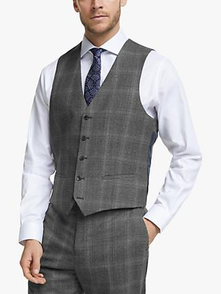 John Lewis & Partners Twisted Check Wool Regular Fit Waistcoat, Grey