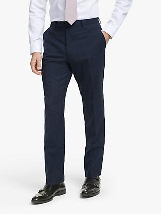 John Lewis & Partners Wool Silk Linen Slub Check Slim Fit Suit Trousers, Navy