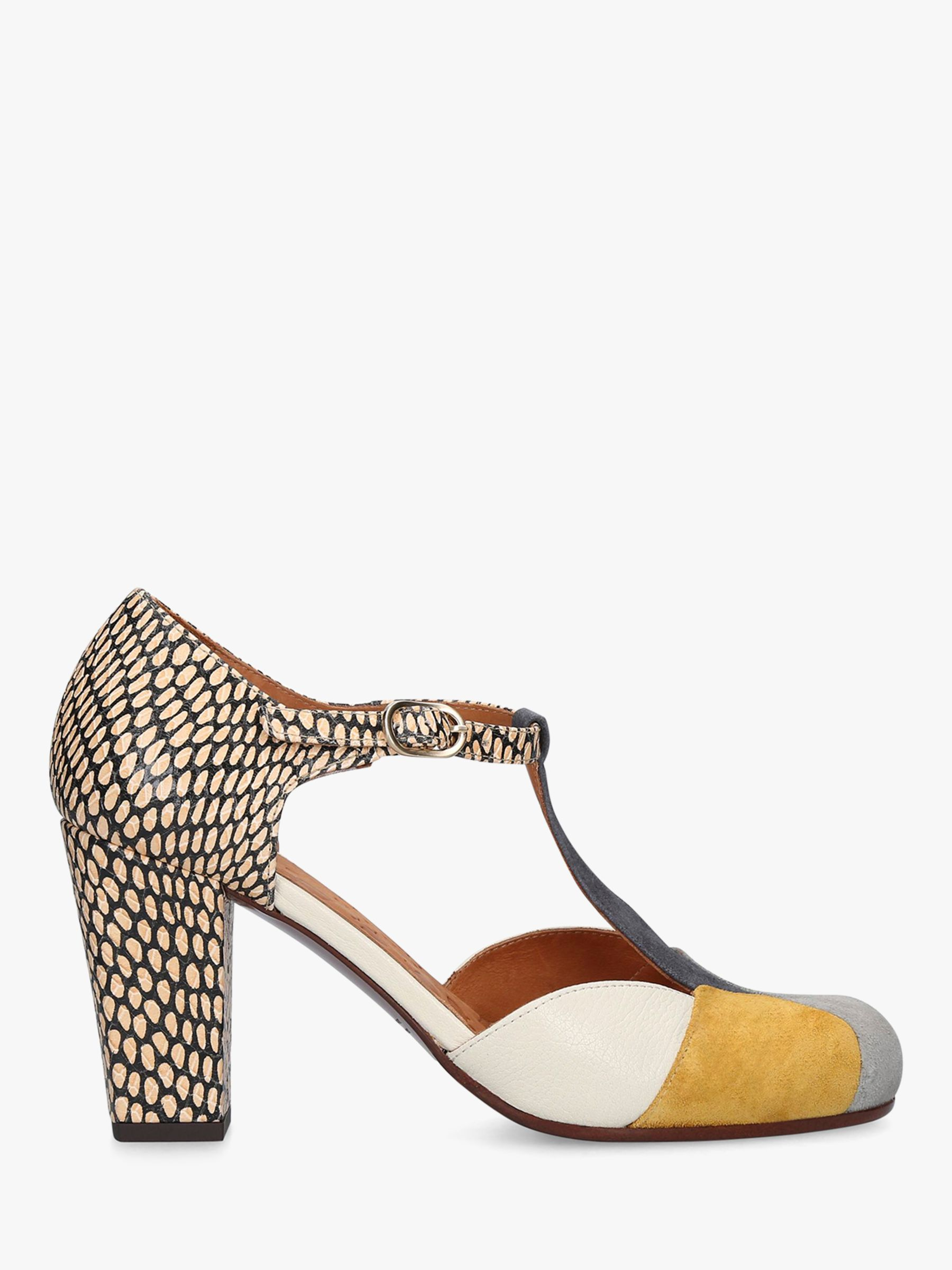 Chie Mihara Chie Mihara Urit T-Bar Suede Cone Heel Court Shoes, Multi