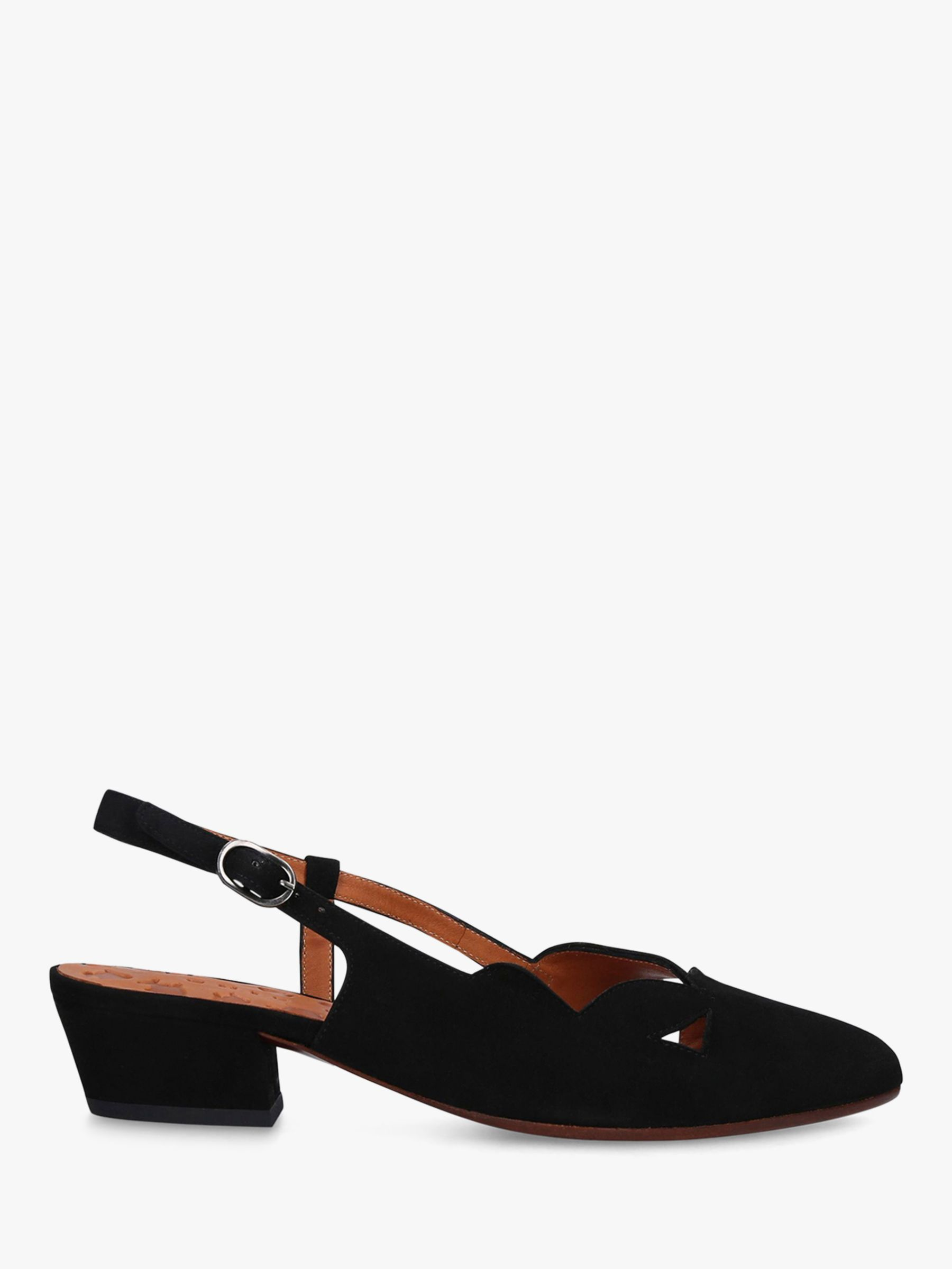Chie Mihara Chie Mihara Rune Low Block Heel Slingback Suede Court Shoes, Black