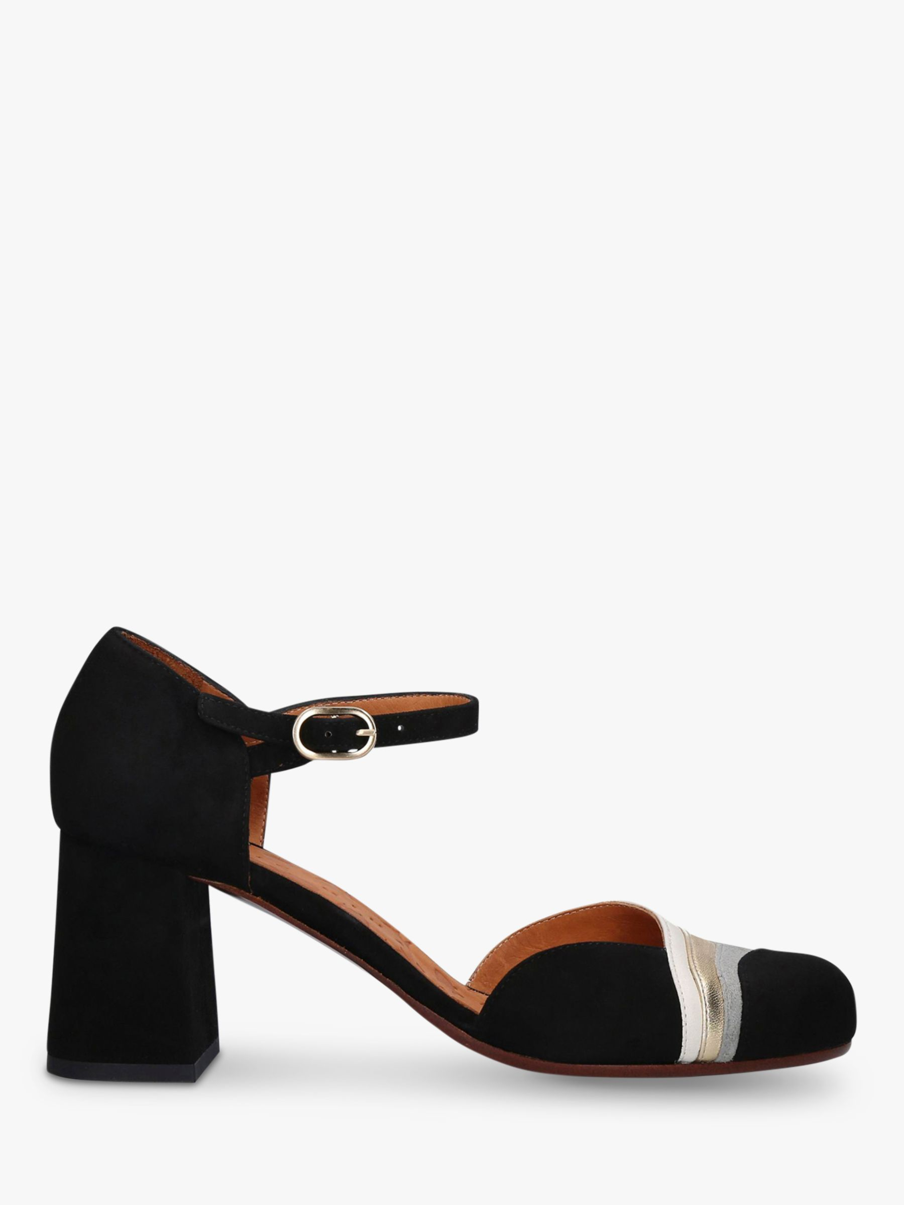 Chie Mihara Chie Mihara Moku Two Part Suede Block Heel Court Shoes, Black