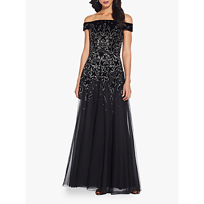 Product photo of Adrianna papell beaded velvet gown black mercury