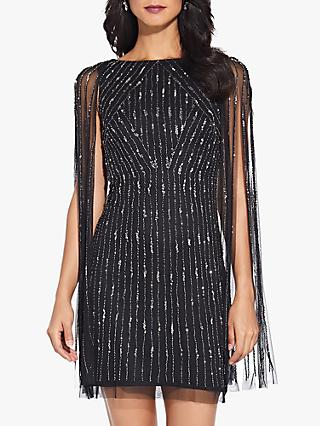 Adrianna Papell Beaded Cocktail Dress, Black/Mercury