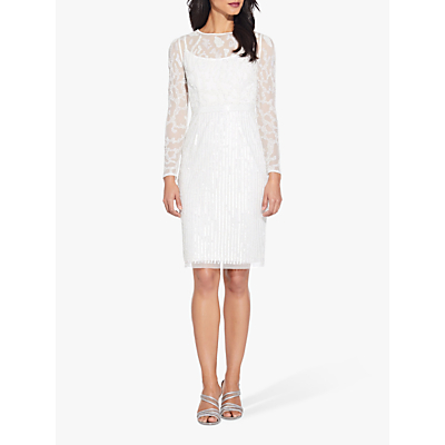 Product photo of Adrianna papell beaded illusion dress off white