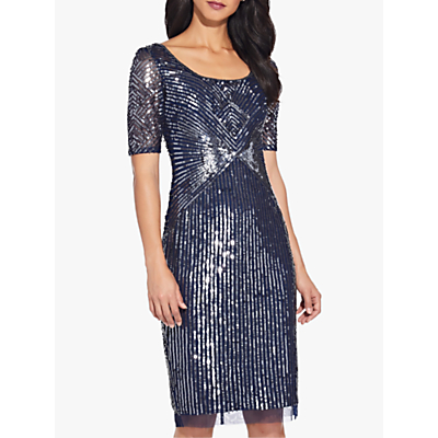 Product photo of Adrianna papell beaded knee length dress navy