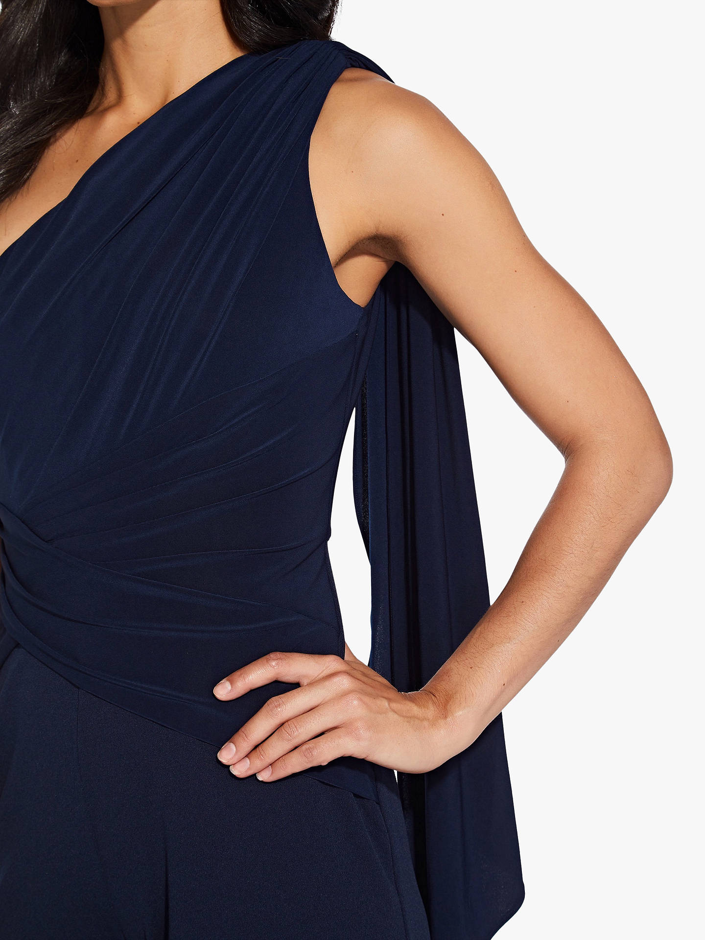 Buy Adrianna Papell One Shoulder Jumpsuit, Midnight, 6 Online at johnlewis.com