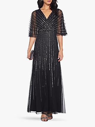 Adrianna Papell Sequin V-Neck Dress, Black/Mercury