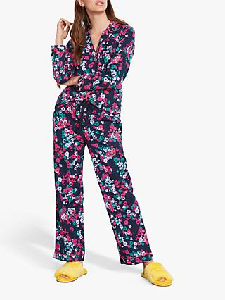 hush Silhouette Floral Piped Flannel Pyjama Set, Midnight/Multi