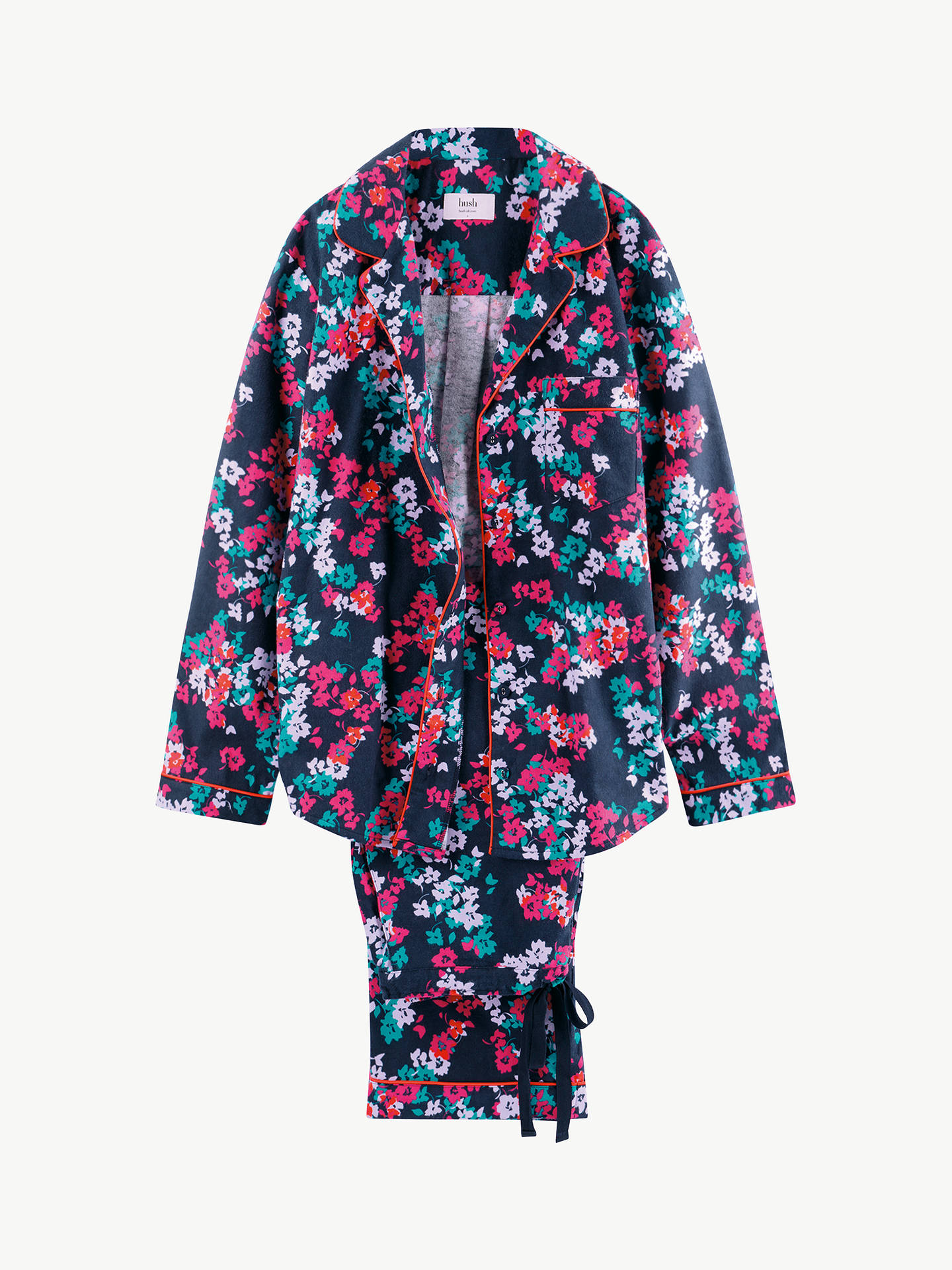 Buy hush Silhouette Floral Piped Flannel Pyjama Set, Midnight/Multi, XS Regular Online at johnlewis.com