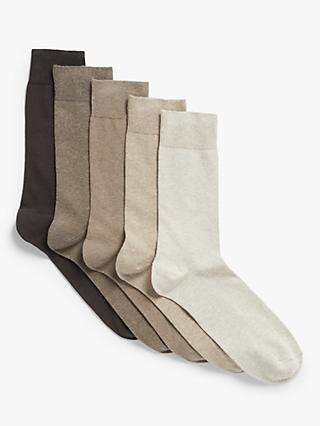 John Lewis & Partners Organic Cotton Rich Plain Socks, Pack of 5, Natural