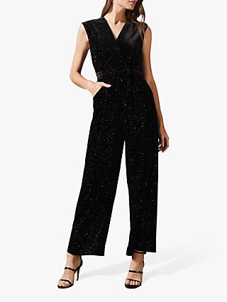 Phase Eight Starlight Velvet Sparkle Jumpsuit, Black