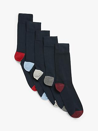 John Lewis & Partners Organic Cotton Rich Heel and Toe Socks, Pack of 5, Navy