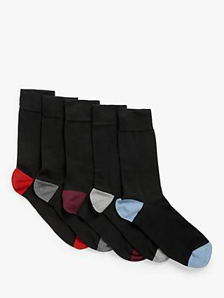 John Lewis & Partners Heel and Toe Socks, Pack of 5, Black